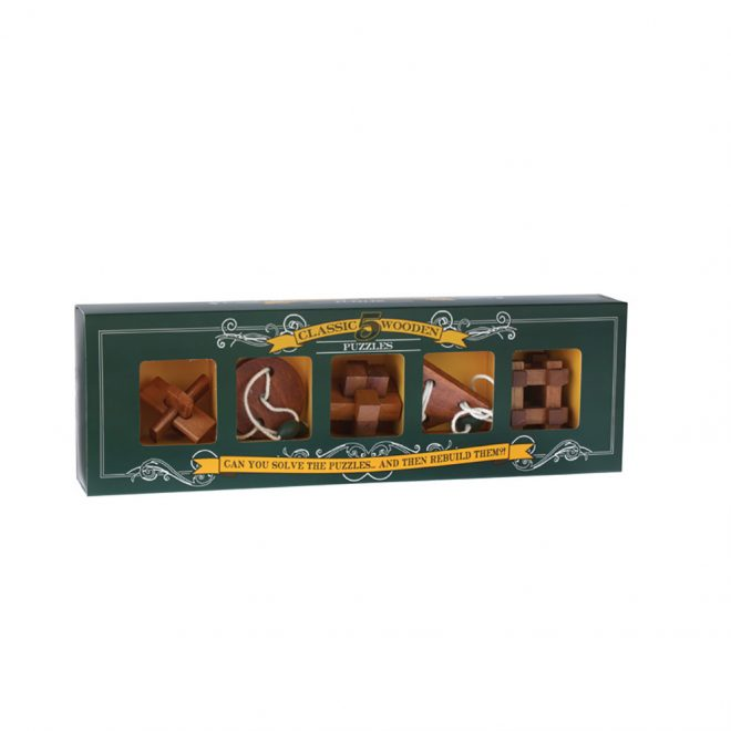 Set of 5 - Classic Wooden Puzzles - Box